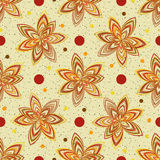 Abstract seamless pattern. Bright autumn colors. Fun. Multi-colored flowers. Yellow background. Vector illustration Royalty Free Illustration