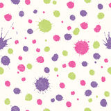 Abstract seamless pattern with bright colorful hand drawn blots Royalty Free Stock Photography