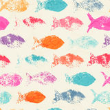 Abstract seamless pattern with bright colorful hand hand drawn fish Royalty Free Stock Photos
