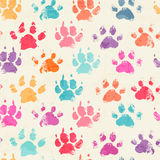 Abstract seamless pattern with bright colorful hand paw prints stock illustration