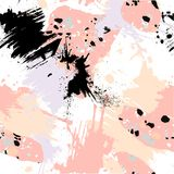 Abstract seamless pattern with brush strokes, paint splashes and stone textures. Trendy abstract design for paper, cover, fabric, interior decor and other Royalty Free Stock Photos