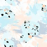 Abstract seamless pattern with brush strokes, paint splashes and stone textures. Trendy abstract design for paper, cover, fabric, interior decor and other Stock Images
