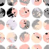Abstract seamless pattern with brush strokes, paint splashes and stone textures. Trendy abstract design for paper, cover, fabric, interior decor and other Stock Image