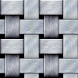 Abstract seamless pattern of brushed steel rods on a black background. Silver metal braided intertwining texture with beveled edges Stock Photography