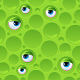 Abstract seamless pattern with bubbles and eyes Stock Image