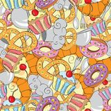 Abstract seamless pattern of cartoon food Stock Images