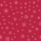 Abstract seamless pattern Christmas background of snowflakes on a red. For design of cards, invitations, greeting for the new year. Vector illustration Stock Image