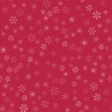 Abstract seamless pattern Christmas background of snowflakes on a red. For design of cards, invitations, greeting for the new year. Vector illustration Stock Photos