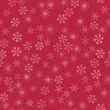 Abstract seamless pattern Christmas background of snowflakes on a red. For design of cards, invitations, greeting for the new year. Vector illustration Royalty Free Stock Photography