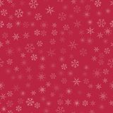 Abstract seamless pattern Christmas background of snowflakes on a red. For design of cards, invitations, greeting for the new year. Vector illustration Royalty Free Stock Images