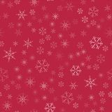 Abstract seamless pattern Christmas background of snowflakes on a red. For design of cards, invitations, greeting for the new year. Vector illustration Royalty Free Stock Photos