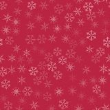 Abstract seamless pattern Christmas background of snowflakes on a red. For design of cards, invitations, greeting for the new year. Vector illustration Stock Photo