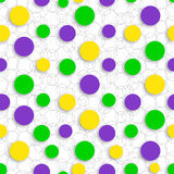 Abstract seamless pattern with circles carnival colors of Mardi Gras. Background suitable for carnival cards, web, print. Abstract seamless pattern with circles Stock Illustration