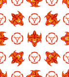 Abstract seamless pattern with circles, flames and stylized devil masks Royalty Free Stock Image