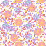 Abstract seamless pattern. Circles and flowers. Abstract seamless pattern on white background for design greeting cards, invitation, meetings and parties Stock Photography