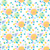 Abstract seamless pattern. Circles and flowers. Abstract seamless pattern on white background for design greeting cards, invitation, meetings and parties Royalty Free Stock Images