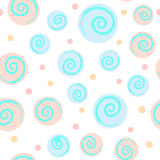 Abstract seamless pattern with circles and spirals. Pastel. Royalty Free Stock Photo