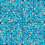 Abstract seamless pattern with circles, squares and swirls. In blue colors vector illustration