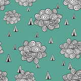 Abstract seamless pattern of clouds and rain. Stock Photos