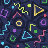 Abstract seamless pattern with color shapes. Abstract seamless pattern with doodle color shapes on dark background. Bright vector texture with hand drawn shapes Royalty Free Stock Image