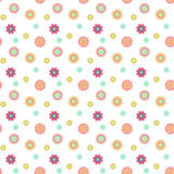 Abstract seamless pattern with colored flowers. Paper flowers ba. Ckground. Vector illustration Stock Photo