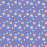 Abstract seamless pattern with colored flowers. Paper flowers ba. Ckground. Vector illustration Stock Photography