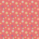 Abstract seamless pattern with colored flowers. Paper flowers ba. Ckground. Vector illustration Stock Images