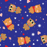 Abstract seamless pattern with colored owls. Stock Photo