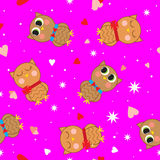 Abstract seamless pattern with colored owls. Royalty Free Stock Image