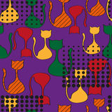 Abstract Seamless Pattern With Colorful Cats Stock Photo