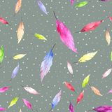 Abstract seamless pattern with colorful feathers Stock Illustration