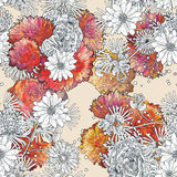 Abstract seamless pattern with colorful flowers on beige background Royalty Free Stock Photo