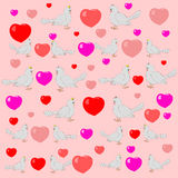 Abstract seamless pattern with colorful hearts and pigeons. Stock Photos