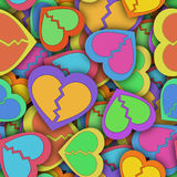 Abstract seamless pattern with colorful hearts and shadow Stock Photo
