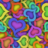 Abstract seamless pattern with colorful hearts and shadow Stock Photos