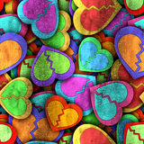 Abstract seamless pattern with colorful hearts and shadow Royalty Free Stock Photography