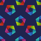 Abstract seamless pattern with colorful pentagons. Stock Image