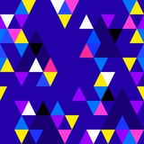 Abstract seamless pattern with colorful triangles on blue background. Vector Royalty Free Stock Photo