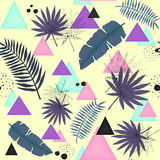 Abstract Seamless Pattern of Colorful Triangles, Palm Leaves and Black Dots Stock Images