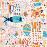 Abstract seamless pattern. Colorful tropic background. Hand drawn backdrop with decorative animals and geometric elements. Memphis style Stock Photos