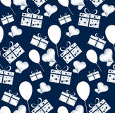 Abstract seamless pattern consisting of boxes with gifts,hearts Stock Photos