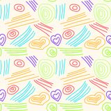 Abstract seamless pattern from contours, sticks, circles and hearts of different colors. For fabric, paper, background. Vector Vector Illustration