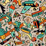 Abstract Seamless Pattern in Crazy Doodle Style stock illustration