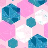 Abstract seamless pattern with crystals. Royalty Free Stock Image