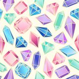 Abstract seamless pattern with crystals. Vector background for various surface. Trendy hand drawn textures Stock Images