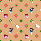 Abstract seamless pattern of cute kawaii style royalty free illustration