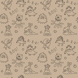 Abstract seamless pattern with cute monsters and stars Royalty Free Stock Photo