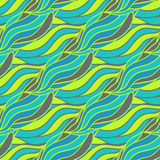 Abstract seamless pattern with doodle wave with neon color. vector illustration Stock Image