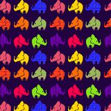 Abstract seamless pattern with elephants on violet Royalty Free Stock Photography