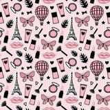 Abstract Seamless pattern fashion style. Cosmetic hand drawing. Paris Eiffel Tower. Vector illustration girly stickers Cute pink. Abstract Seamless pattern stock illustration